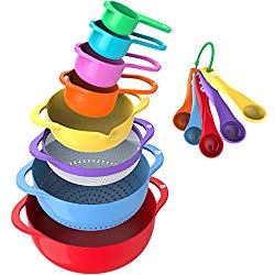 Vremi 13 Piece Mixing Bowl Set With Handle – With Nesting Colorful Measuring Cups Spoons Colander Mesh Strainer – BPA Free Plastic Stackable Nested Mixing Bowls Large Small Pour Spout Baking Cooking