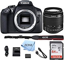 Canon EOS T6 / 1300D with EF-S 18-55mm 18.7MP CMOS 5184 x 3456 Pixels (Black) + 64GB SD Card + Digital Camera Cleaning Cloth