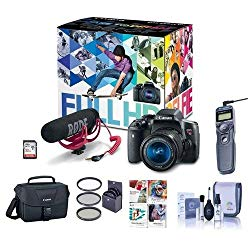 Canon T6i Video Creator Kit with EF-S 18-55mm f/3.5-5.6 IS STM Lens, Rode VIDEOMIC GO Microphone, 32GB SDHC Card – Bundle with Filters, Remote Trigger, Camera Case. Cleaning Kit, Pro Software