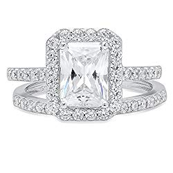 2.20 CT Emerald Brilliant Cut Simulated Diamond CZ Designer Solitaire Pave Halo Bridal Anniversary Wedding Promise Ring band set Solid 14k White Gold