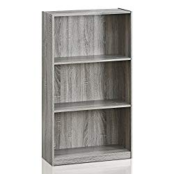 Furinno 99736GYW Basic 3-Tier Bookcase Storage Shelves, French Oak Grey