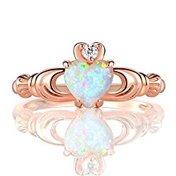 GEMSME Rose Gold Flashed Created 6mm White Heart Opal Cubic Zirconia Crown Ring