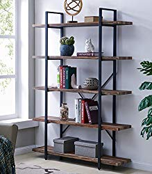 Homissue 5-Tier Bookcase, Vintage Industrial Wood and Metal Bookshelves for Home and Office Organizer, Retro Brown