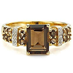 Huanhuan Jewelry Women's Emerald Cut Brown Created Topaz Gemstone Yellow Gold Plated Wedding Anniversary Rings Band Gift Size 6 to 11