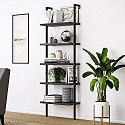 Nathan James 65501 Theo Wood Ladder Bookshelf, Nutmeg