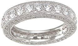 Vintage Style Sterling Silver CZ Wedding Anniversary Band Ring for Women