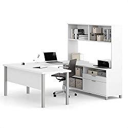 Bestar Pro-Linea U-Desk with Hutch, White