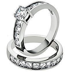 3.25 Ct Cubic Zirconia Stainless Steel 316 Engagement Wedding Ring Set Size 5-10