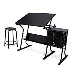 Belleze Adjustable Tabletop Drafting and Drawing Desk w/Padded Stool and 3 Storage Drawers, Black