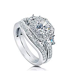 BERRICLE Rhodium Plated Sterling Silver Cubic Zirconia CZ Art Deco Halo Engagement Ring Set