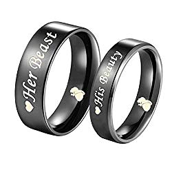 Blowin His Beauty/Her Beast Love Heart Black Stainless Steel Engagement Wedding Bands Promise Ring