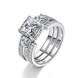 BONLAVIE Women's 925 Sterling Silver CZ Past Present Future Wedding Band Engagement Rings Bridal Set
