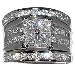 Contemporary 2.86 Ct. Cubic Zirconia Cz 3 Pc. Engagement Bridal Wedding Ring Set