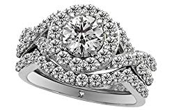 Esdy International IGI Certified Value $6,490, 14K White Gold, Round Cut Diamond Halo Bridal Set (2 cttw H-I Color, I1 Clarity)
