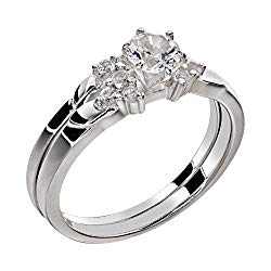 FlameReflection Stainless Steel White Round Shape Cubic Zirconia Women Wedding Ring Set Size 5-11 SPJ