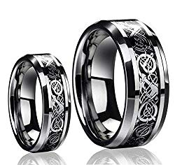 His & Her's (1 Pair) 8MM/6MM Tungsten Carbide Celtic Knot Dragon Design Carbon Fiber Inlay Wedding Band Ring Set