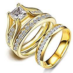 LOVERSRING Couple Ring Bridal Set His Hers 10k Women Yellow Gold Filled Men Stainless Steel Engagement Ring set