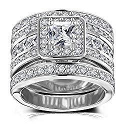 Princess Cut Wedding Rings Set – Square Cluster CZ Enhancer Guard 3pcs Halo Bridal Bands Size 5-11