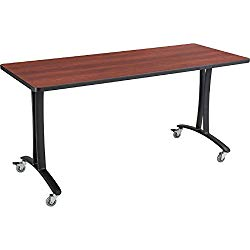 Rumba™ Tables, Fixed T-Leg Table with Casters, 60 x 24″, Cherry Tabletop & Black Base