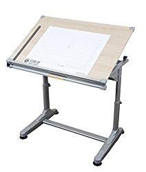 Stand Up Desk Store Height Adjustable Drawing and Drafting Table with 39.2″W x 27.5″ D Surface, Silver Frame with Birch Top