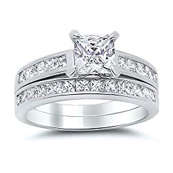 Sterling Silver Princess Cut Bridal Set Engagement Wedding Ring Set