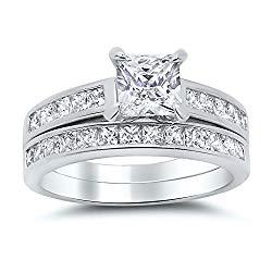 Sterling Silver Princess Cut Bridal Set Engagement Wedding Ring Set