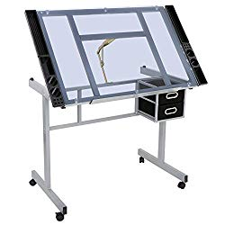 ZENSTYLE Adjustable Multifunctional Drafting Drawing Table Desk Tempered Glass Top Art Craft w/Drawers, Castors