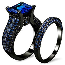 ZHENYUL 2.0ct Women's Black Gold Blue Sapphire Princess Cut CZ Topaz Anniversary Band Engagement Bridal Wedding Rings Set Jewelry