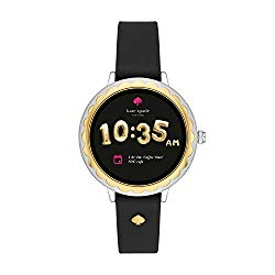 Kate Spade New York Scallop Touchscreen Smartwatch, Two-Tone Stainless Steel, Black Silicone Band, 42mm, KST2006