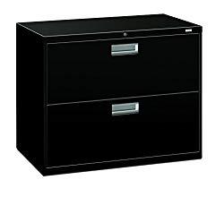 HON 2-Drawer Filing Cabinet – 600 Series Lateral Legal or Letter File Cabinet, Black (H682)