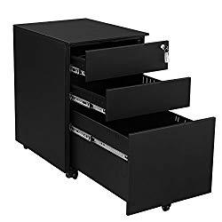 SONGMICS Steel File Cabinet 3 Drawer with Lock Mobile Pedestal Under Desk Fully Assembled Except Casters Black UOFC60BK