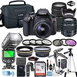 Canon EOS Rebel T6 DSLR Camera Bundle w/Canon EF-S 18-55mm is II Lens & EF 75-300mm f/4-5.6 III Lens + 32GB Sandisk Memory + Canon Case + TTL Speedlight Flash (Good Upto 180 Ft) + Accessory Bundle