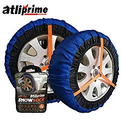 atliprime 2pcs Anti-Skid Safety Ice Mud Tires Snow Chains Auto Snow Chains Fabric Tire Chains Auto Snow Sock on Ice and Snowy Road (AT-SB76)