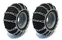 The ROP Shop Pair 2 Link TIRE Chains 18×8.5×8 for Kubota Lawn Mower Garden Tractor Rider