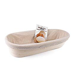 (14×6 inch) Oval Proofing Basket Set by Bread Story– Oval Banneton/Brotform Handmade Unbleached Natural Cane Bread Baking Kit with Cloth Liner – Course Discount, Coupon