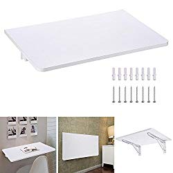 Yescom Wall Mounted Floating Folding Computer Desk 66lbs Weight Capacity PC Dining Wooden Table 23 5/8″ x 15 3/4″ White