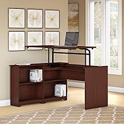 Bush Furniture Cabot 52W 3 Position Sit to Stand Corner Bookshelf Desk in Harvest Cherry