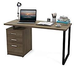 DEVAISE Modern Computer Desk, 55.1″ Office Desk with Reversible File Cabinet