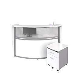 OFM Marque Series Plexi Single-Unit Curved Reception Station – Office Furniture Receptionist/Secretary Desk with White Pedestal (PKG-55310-WHITE)