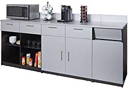 Breaktime Group Break Room Lunch Combo Ready to Install/Ready to Use, Espresso/Grey Metallic, 3 Piece