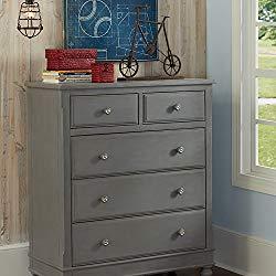 NE Kids Lake House 5-Drawer Chest Drawers in Stone Grey