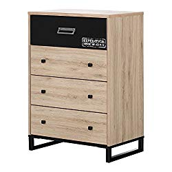 South Shore 11020 Induzy 4-Drawer Chest, Rustic Oak Matte Black