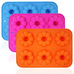3 Pieces Pumpkin Shaped Silicone Donut Molds, Doughnut Baking Pans, FineGood 6-Cavity Reusable Cake Maker Cookie Tray for Kitchen, Dishwasher, Oven, Microwave, Freezer Safe – Blue, Orange, Red Rose