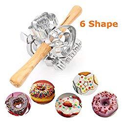 FCOZM Metal Revolving Donut Cutter Maker Machine Mold Pastry Dough Baking Roller For Cooking Baking (Aluminum2)