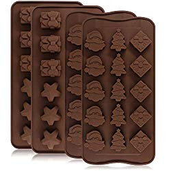 4 Pack Silicone Chocolate Candy Molds Trays, DanziX Baking Jelly Molds, Cake Decoration, with Shapes of Star, Gift Box, Christmas Tree, Santa Head – 2 Types