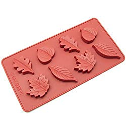 Freshware CB-600RD 8-Cavity Leaf Shape Silicone Mold for Making Soap, Candle, Candy, Chocolate, and More