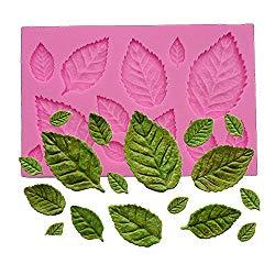 Wocuz Mini Rose Leaves Silicone Mold Fondant Mold Cake Border Cupcake Silicone Lace Mat Mold Decoration Tool, 3.9″