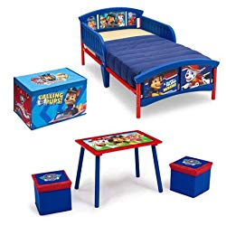 Nick Jr. PAW Patrol 4-Piece Scratch-Resistant Finish Toddler Bed Bedroom Set with Bonus Fabric Toy Box, for Ages 15 Months+