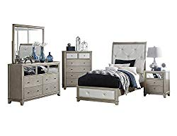 Owens Glitz & Glam 5PC Bedroom Set Twin Bed, Dresser, Mirror, Nightstand, Chest in Pearl White