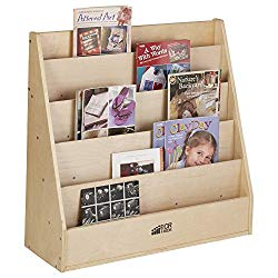 ECR4Kids Birch Streamline Book Display Stand, Wood Book Shelf Organizer for Kids, 5 Shelves, Natural